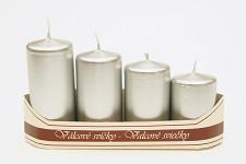 Adventní svíce - postupné - stříbrné