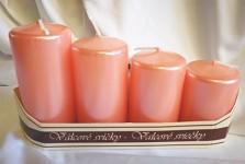 Adventní svíce postupné - růžové metalické