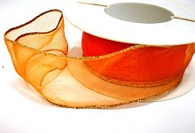 Stuha organza drát -oranžová zlatý lem - 1 m