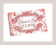 Čokoládka svatební tabulka - ornament 6 - červená