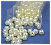 Korálky perličky - krémové 8 mm- 144ks