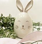 Zajíc porcelán - bílo-zlatý - 14 cm