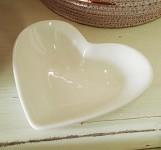 Bílá miska keramická malá - srdce