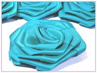 Saténový květ růže - tyrkysový