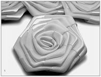 Saténový květ růže - stříbřitě šedý