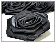 Saténový květ růže 5cm - černý