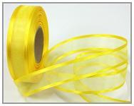 Šifonová stuha lemovaná  - 25mm - žlutá - 1m