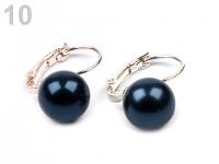 Náušnice - perla temná modrá 10mm