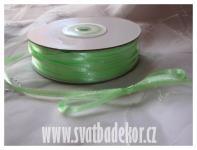 Saténová stuha 3mm - pastel zelená -1m