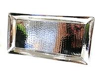 Aranžovací tác čtverec mléčné sklo - stříbrný lem - 15cm
