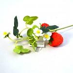 Maliník - větvička s květy a malinami