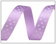 Saténová stuha 10mm - fialová s puntíky - 1m