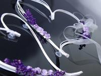 Srdce pedig 2ks - lila dekorace