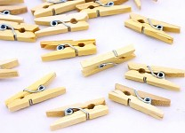 Mini kolíčky natur dřevěné - 25mm - 100 ks