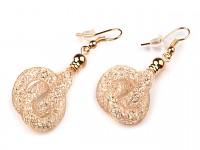 Náušnice krémovo-zlaté dutiny s krystaly