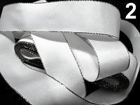 Stuha taftová s lurexem - 25mm/10m - stříbrná