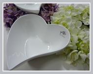 Bílá miska keramická malá - srdce atyp