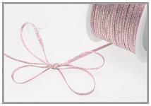 Stuha satén 3mm - růžovo-stříbrná - 1m